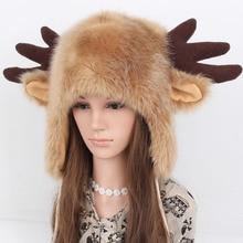 Шапка унисекс с головой оленя на осень и зиму, очень теплая шапка с милыми мультяшными рогами из меха и бархата, шапка-ушанка Lei Feng