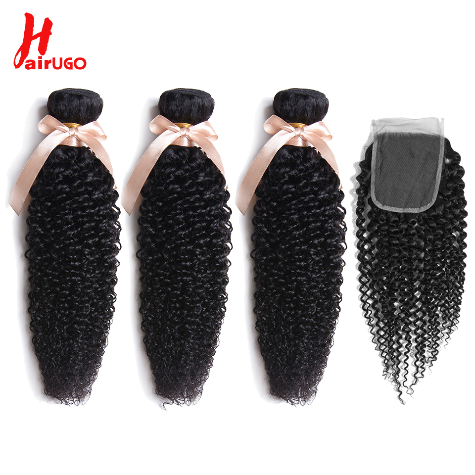 HairUGo Hair Pre-colored Brazilian Hair Kinky Curly Wave 3 Bundles 100% Human Hair With Closure #1b Nature Black Non Remy Free S