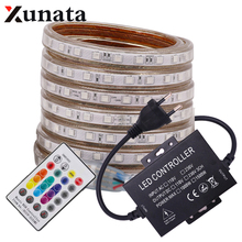 цена на AC220V SMD 5050 RGB LED Strip Light 60Leds/m Flexible Ribbon Tape With Bluetooth Music 24key IR RGB Controller EU/UK Power Plug