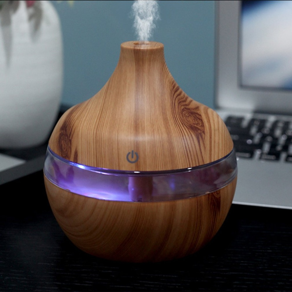 300ml Wood Grain Essential Oil Aromatherapy Diffuser USB Charging Home Air Humidifier Purify Soothing LED Night Light Mist Maker