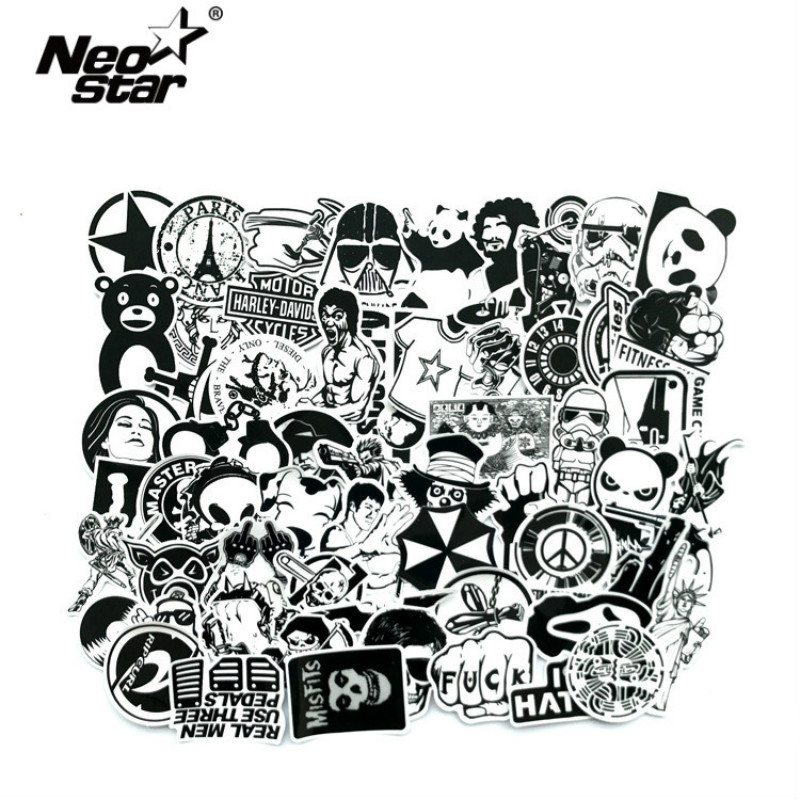 60Pcs/Lot Black and White Mix Stickers For Laptop Moto/Car Cool Sticker Graffiti Bomb Decals Stickers Skateboard Luggage 2019-in Laptop Skins from Computer & Office