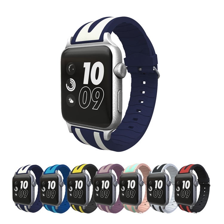 Suitable For APPLE Watch Strap APPLE Watch Silicone Watch Strap Double Stripe Watch Strap Silicone Watch Strap