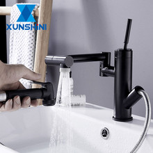 XUNSHINI Pull Out Faucet Bathroom 360 DegreeBasin Faucet Single Hole Mixer Tap Deck Mounted Hot And Cold Tap Sink Brass Faucet free shipping four sets of bathrooms ceramics brass faucet double knobs 4 hole deck mounted sink faucet hot cold mixer tap