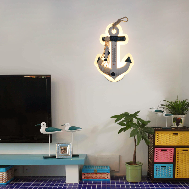 Mediterranean anchor wall lamp creative bedroom wall lamp personality living room study background wall LED marine rudder(China)