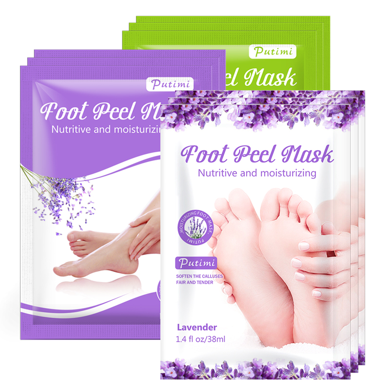 PUTIMI 6pcs 3pair Foot Mask Socks Exfoliating Foot Spa Bath Mask Peeling Scrub Pedicure Foot Patch Moisturizer Dead Skin Remover