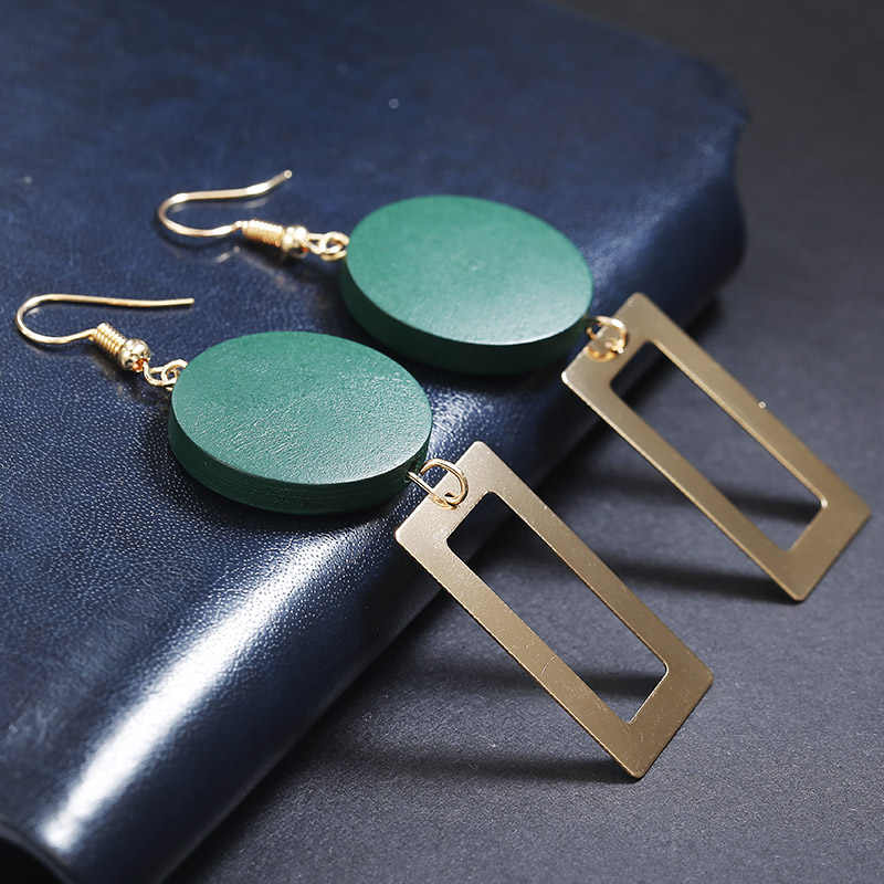 Koreańskie damskie kolczyki metalowe drewno geometryczna moda śliczne czeski spadek kolczyki nadaje się na zimę prezent biżuteria 2019 nowy