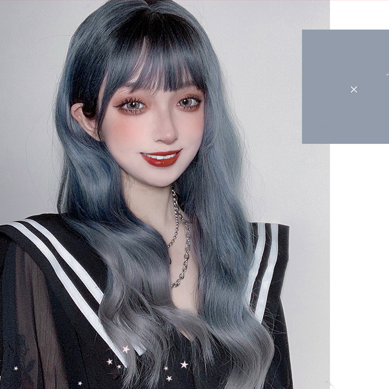 MANWEI 60CM Lolita Long Wavy Straight Mixed Ash Blue Ombre Bangs Cute Halloween Synthetic Party Cosplay Wig