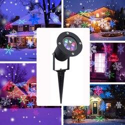 Рождественский лазерный светильник Снежинка светодиодный проектор IP65 водонепроницаемый наружный Рождественский Точечный светильник Ноч...