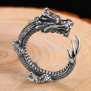 Image 2 - Pure Silver Sterling 925 Silver Retro Dragon Opening Adjustable S925 Ring (HY)