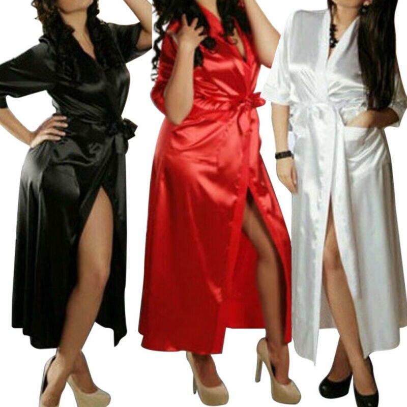 Women Sexy Silk Satin Night Robe Half Sleeve Nighties V-neck Non-Lace Nightgown Lingerie Pajama Kimono Sleepwear Long Robe Gown