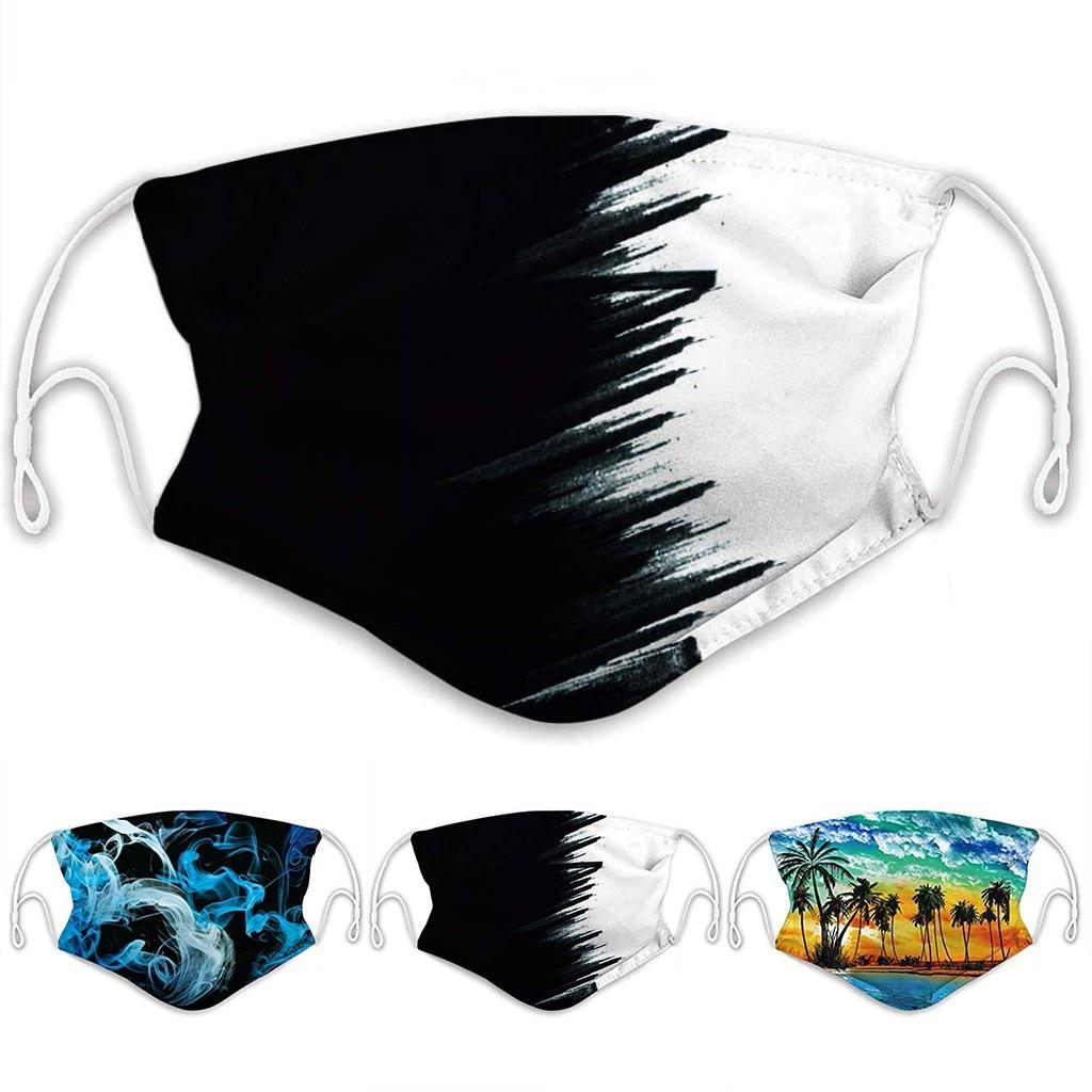 Print Mouth Maske Reusable Dust Maske Washable Face Maske Foggy Smoke Maske Outdoor 2 Layer Face Maske Cover With 2PC Filters