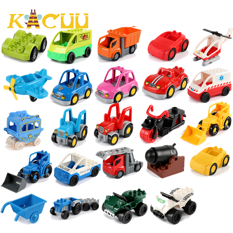 Compatible Duplos Building Blocks Children Toys Big Size Brick Building Blocks Toys Cartoon Car Airplane Train Model Toys Gifts