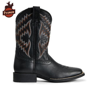 Western-Boots Girls Designer Genuine-Leather Children's Prowow-Shoes Boys Kids Patch