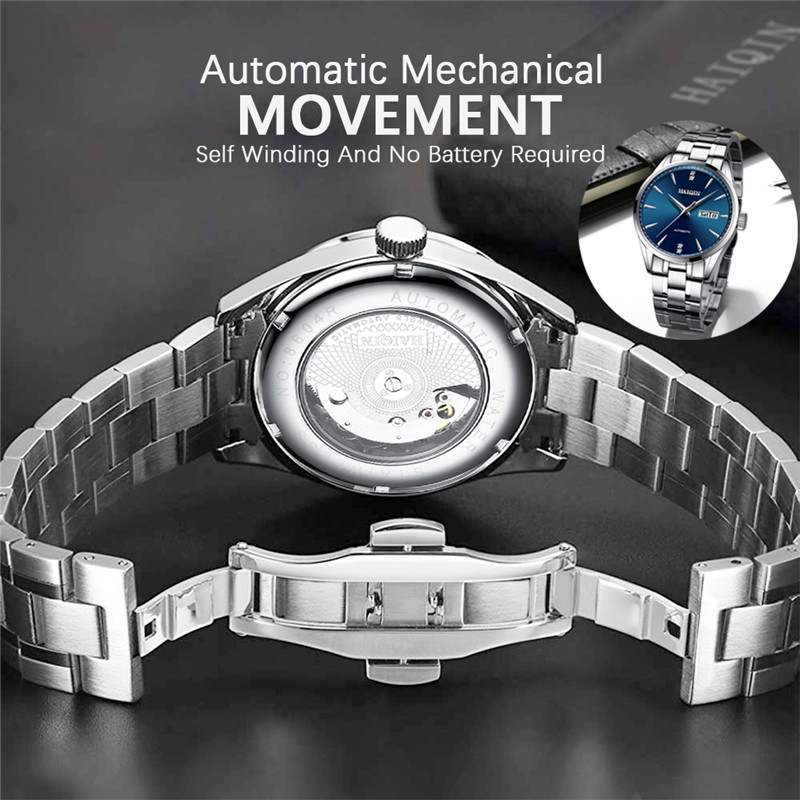 2020 New HAIQIN Brand Luxury Men Watches Automatic Watch Men Full Steel Waterproof Business Military Sport Mechanical Wristwatch