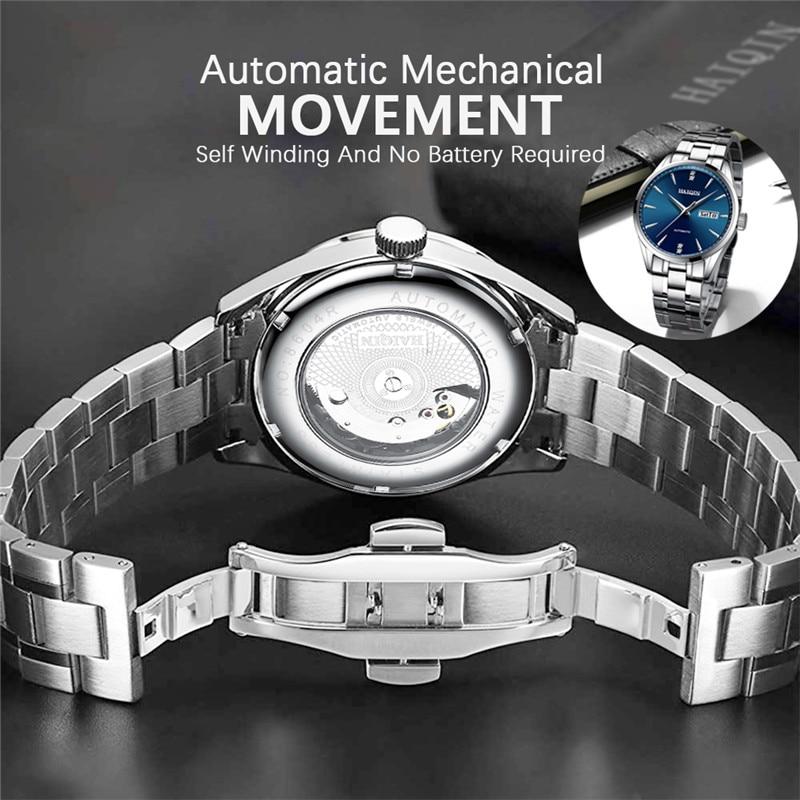 2020 New HAIQIN Brand Luxury Men Watches Automatic Watch Men Full Steel Waterproof Business Military Sport Mechanical Wristwatch