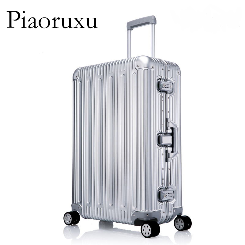 100% багаж из алюминиевого сплава в твердом переплете, тележка для багажа, Дорожный чемодан 20, багаж 26, 29 дюймов, багаж в клеткуЧемодан на колесиках    АлиЭкспресс