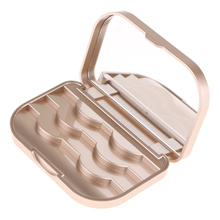 False Eyelash Storage Box Makeup Cosmetic Mirror Case Organizer with Champagne