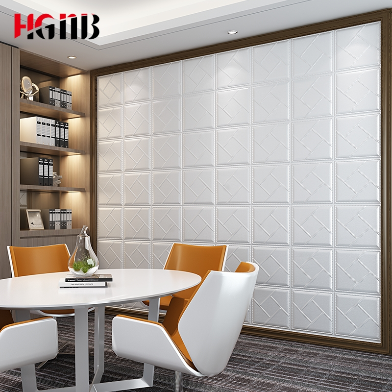 3D Faux Leather PE Foam Wall Sticker Waterproof Self Adhesive Wallpaper For Living Room Background Bedroom Kids Room Home Decor