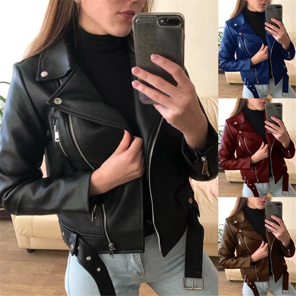 Women Cool Faux Leather Jacket Long Sleeve Zipper Fitted Coat Fall Short Jacket Autumn Winter Motorcycle Streetwear Outwear