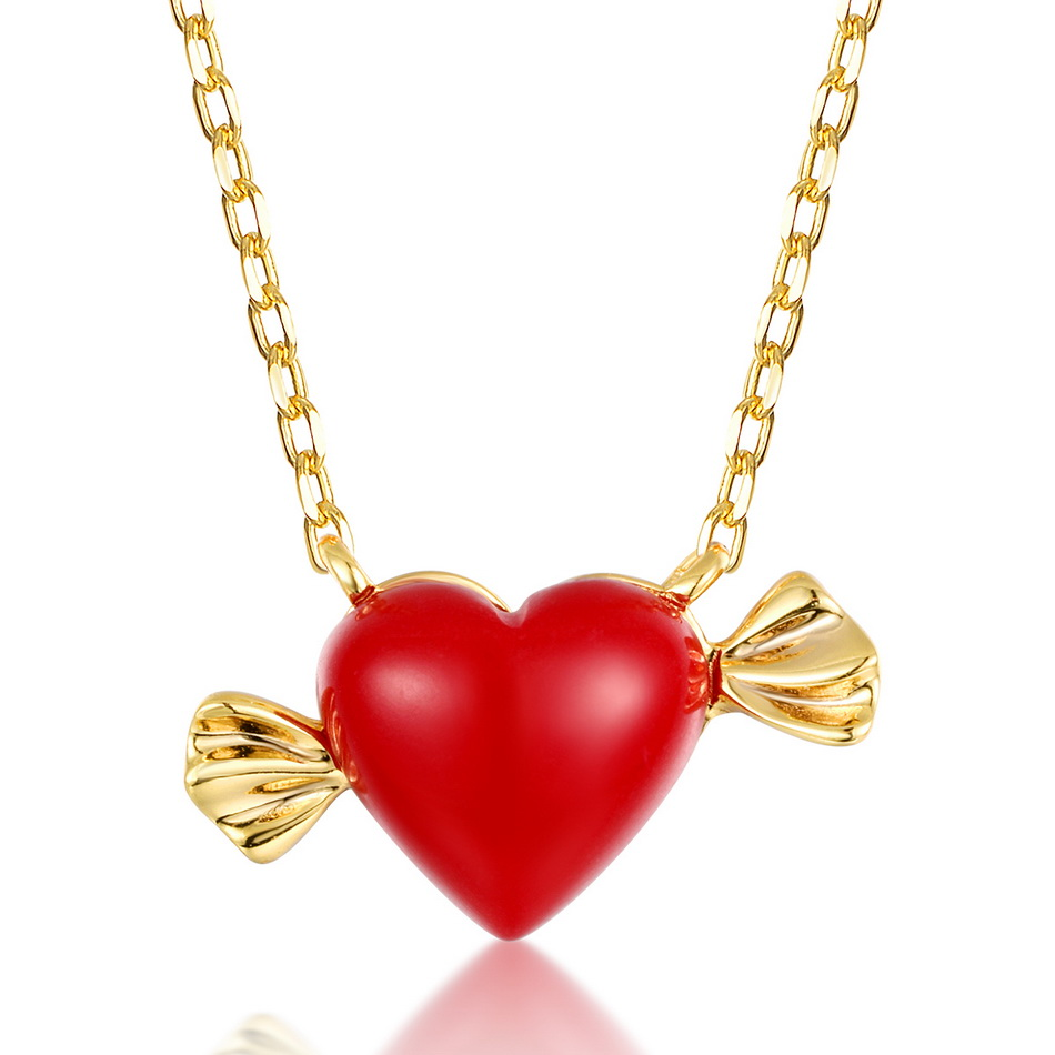 ALLNOEL Real 925 Sterling Silver 9K Gold synthetic coral Heart Pendant Necklaces Jewelry Gift For Women Fine Jewelry 2019 NEW  (6)