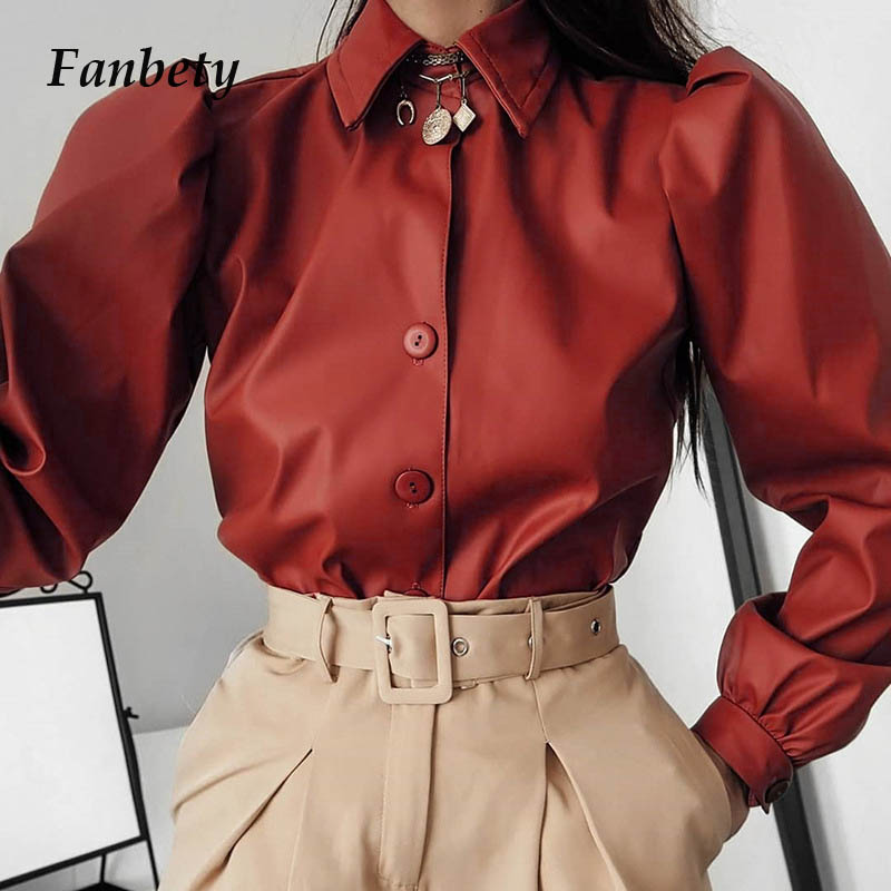 Women Leather Button Blouse Shirts Elegant Turn-Down Collar Vintage Tops Female 2020 Spring Puff Long Sleeve Blusa Dropshipping