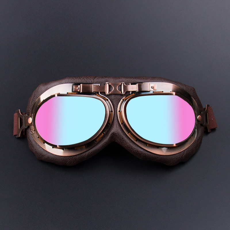 Amount-Bronze Harley Motorcycle Glasses Off-road Harley Goggles Retro Eye-protection Goggles Karting Bicycle Glass