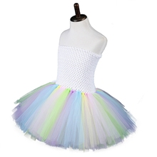 null Baby Girls Rabbit Tail Colorful Tulle Strapless Tutu Dress with Bunny Ears Headband Easter Halloween Carnival Party Cosplay cheap Nylon unisex 4-6y Novelty CN(Origin) Four Seasons Sets 6EE407380-L Sleeveless Fits true to size take your normal size Solid