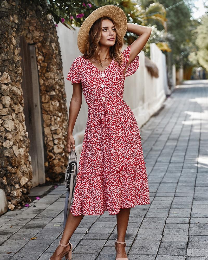 Women Dress 2020 New Summer Boho Style Floral Print V-Neck Long Dress Women Vacation Beach Dresses Ladies Vestidos De Fiesta
