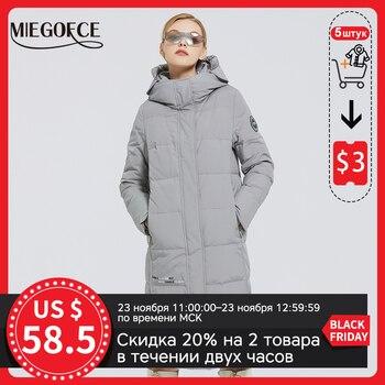 MIEGOFCE 2020 nouveaux manteaux longs en coton pour femmes avec Logo miegofce conception hiver Parkas imperméables coupe-vent vêtements veste femme 1
