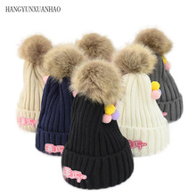 HANGYUNXUANHAO Winter Baby Kids Crochet Knitted Hat Cap Cute Children Girl Boy Wool Fur Bobble Ball Pompom Beanies