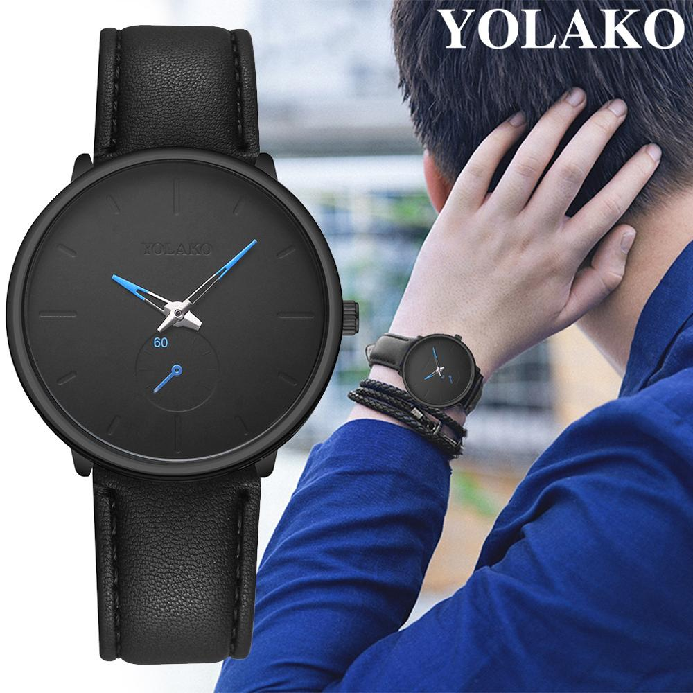 YOLAKO Men's Wrist Watches Belt Simple High Quality Leather Fashion Casual Quartz Watch Relogio Masculino reloj hombre|Quartz Watches| |  - title=