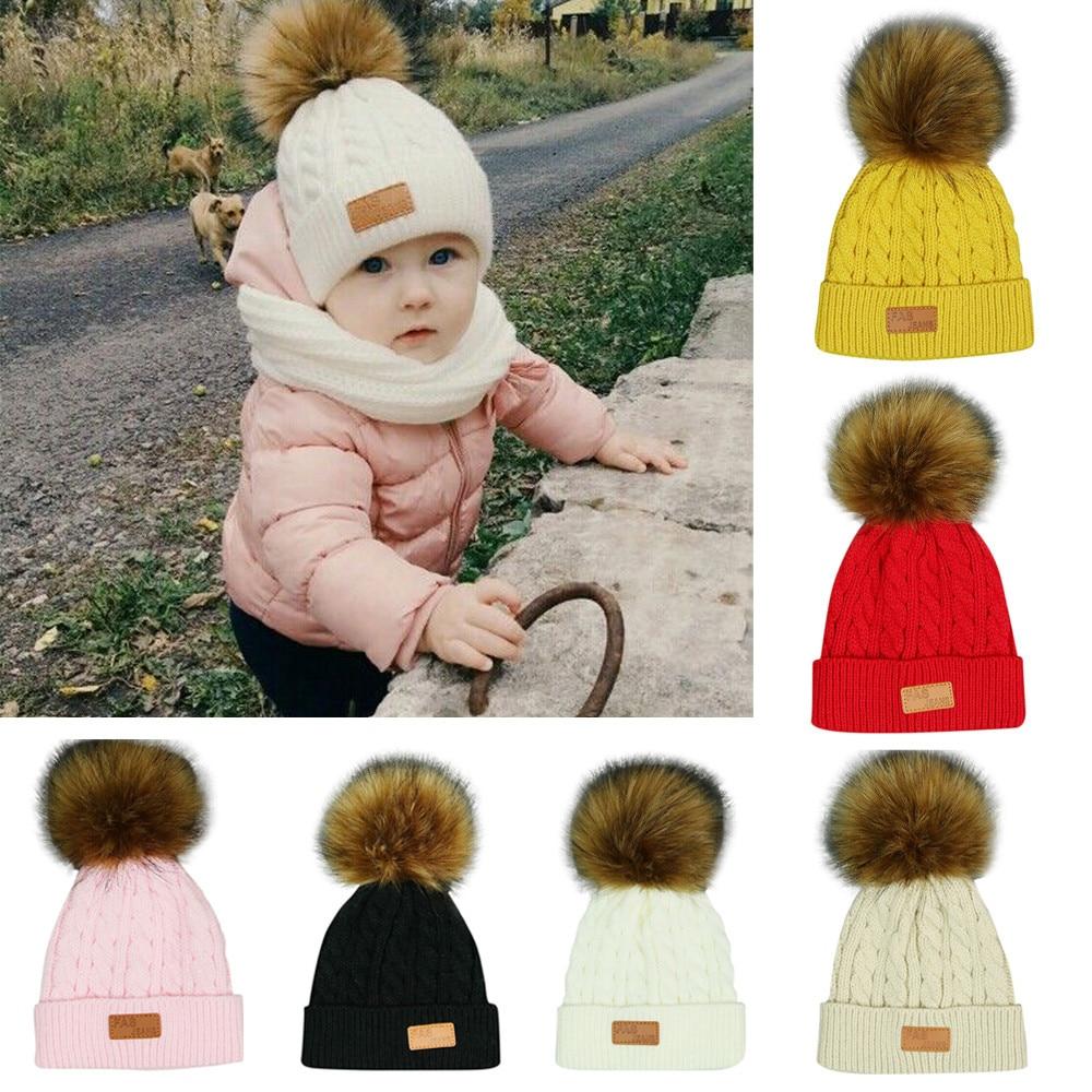 Lovely Toddler Kid Girl/&Boy Infant Winter Warm Ball Crochet Knit Hat Beanie Caps