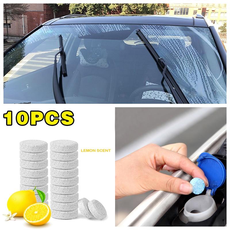 Acessórios do carro 10 pçs = 40l limão perfume carro pára-brisa de limpeza de vidro auto janela limpador efervescente concentrado spray mais limpo