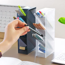 4 Grid Plastic Cases Office Desktop Pen Pencil Debris Stationery Storage Box Room Makeup Brush Lipstick Tool Organizer Container(China)