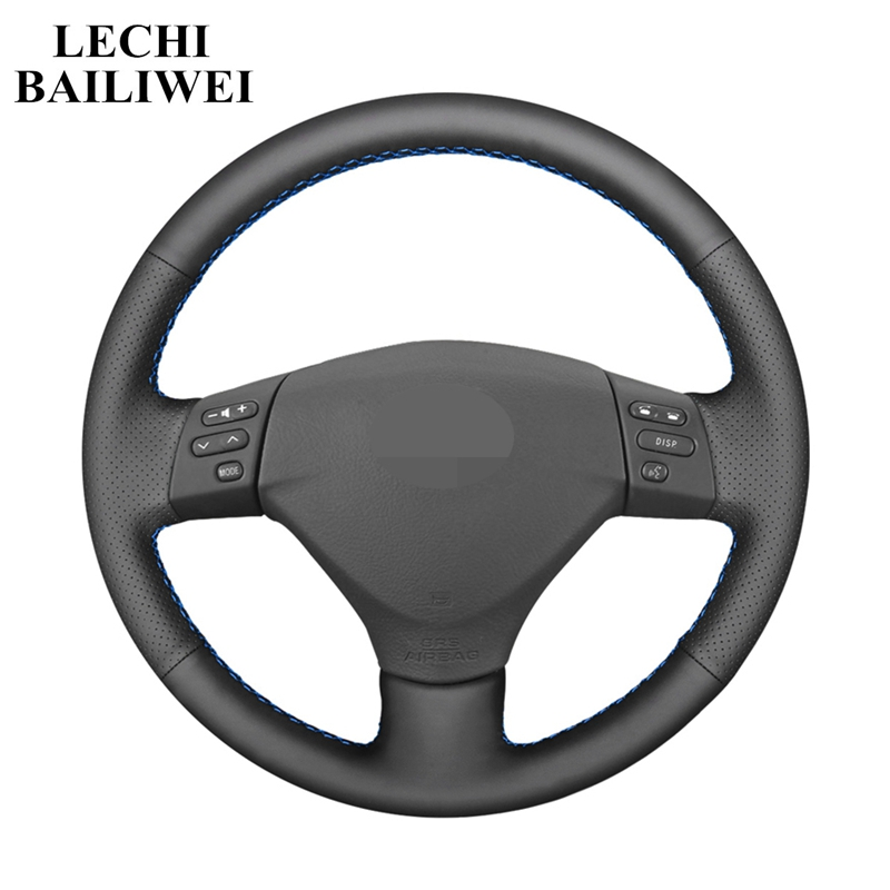 Artificial Leather DIY Black Hand-stitched Steering Wheel Cover for Toyota Corolla Verso Camry Lexus RX330 RX400h RX400 2004 image