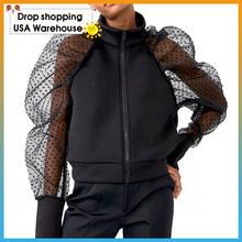 Женская короткая куртка в горошек однотонная теплая Повседневная