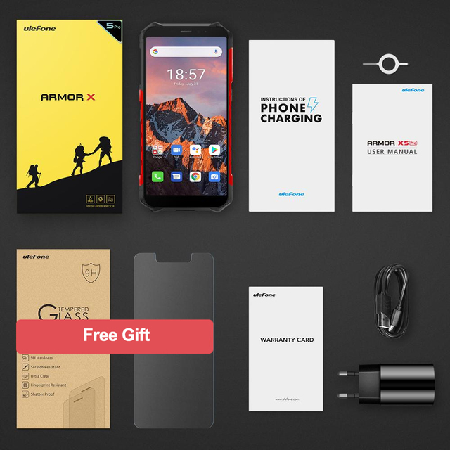 Ulefone Armor X5 Pro Rugged Waterproof Smartphone 4GB+64GB Android 10.0 Cell Phone NFC 4G LTE Mobile Phone 6