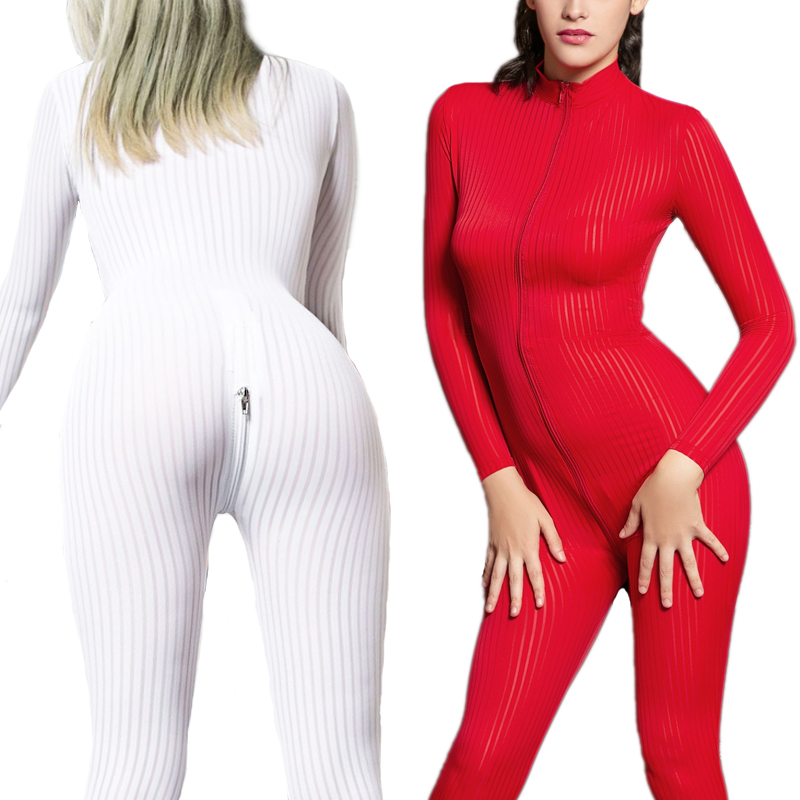 Striped Sexy Sheer Onesie For Adult Women Pajamas Onesies Pyjamas Sleepwear Short Romper Jumpsuit Bodycon