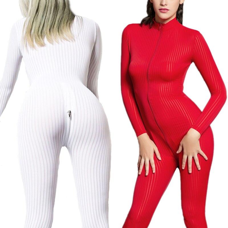 Striped Sexy Sheer Onesie For Adult Women Pajamas Onesies Pyjamas Sleepwear Short Romper Jumpsuit Bodycon