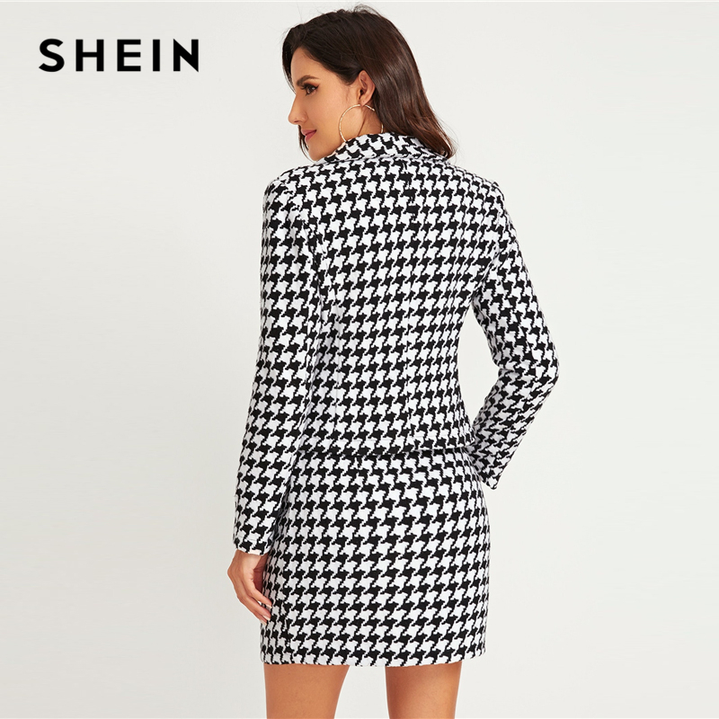 SHEIN Black And White Shawl Collar Houndstooth Print Blazer And Bodycon Skirt Elegant Set 2019 Autumn Ladies Buttoned Suit Sets 2