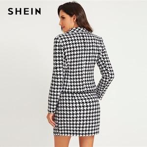 Image 2 - Shein conjunto elegante com gola xale, blazer e saia estampadas com capuz, preto e branco, conjunto de outono, 2019