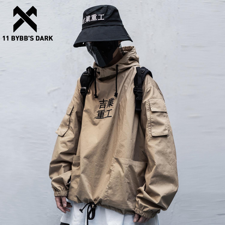 11 BYBB'S DARK Patchwork Pockets Streetwear Jacket Men Hip Hop Letter Embroidery 2020 Pullover Fashion Techwear Male Coats Black