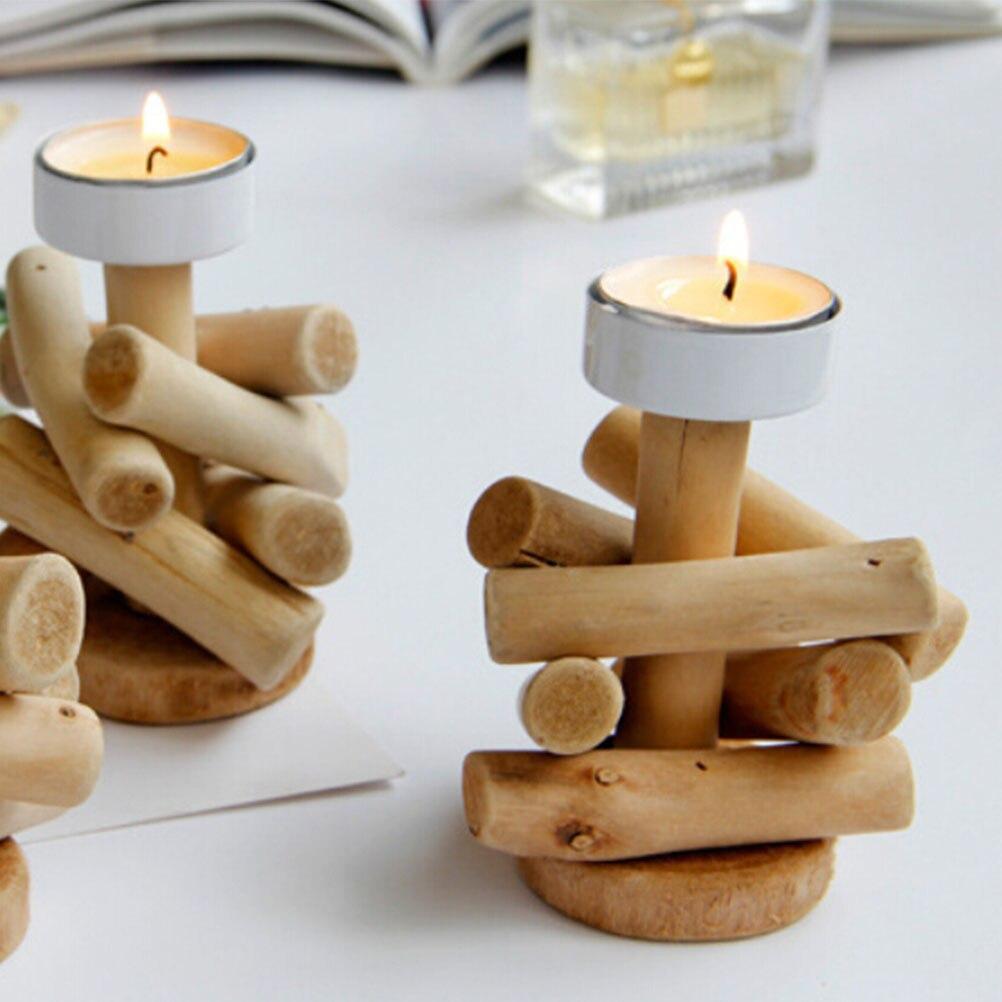 candelabro para boda fiesta candelabro de madera Juego de 10 soportes para velas de madera S maceta POFET spa portavelas de ramas de madera Navidad hogar