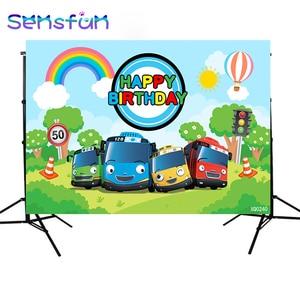 Image 4 - XQ0240 Cartoon Tayo Bus theme Newborn Kids 1st Birthday Party Backdrop For Boys Background For Photo Studio Photophone 220x150cm