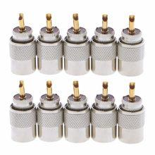 10 pces uhf PL-259 macho solda rf conector plugues para rg8x coaxial cabo