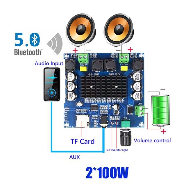 2*100W Bluetooth 5.0 ses amplifikatörü kurulu TDA7498 güç dijital Stereo alıcı AMP hoparlörler ev sineması Diy
