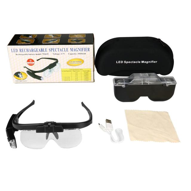 Illuminated Magnifying Glass 1.5X 2.0X 2.5X 3.5X 4.0X 4.5X LED USB Rechargeable Headband Free Hand Magnifying Loupes with Light