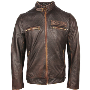 Image 2 - Vintage Motorfiets Lederen Jas Mannen 100% Echt Koeienhuid Leren Jas Mannen Slim Fit Bomber Moto Biker Leren Jas Winter M261