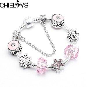 Женские браслеты-шармы в мультяшном стиле CHIELOYS, розовые хрустальные бусины, Посеребренная цепочка-змея, брендовый браслет, подарок для дете...