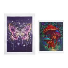 5D DIY Diamond Painting Cross Embroidery Wall Painting Diamond Embroidery 3D Flower and Skull for Living Room Wall Decoration